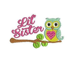 Little Sister Embroidery design, Owl embroidery pattern, machine embroidery design, Instant Download