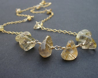 Natural Golden Rutilated Quartz Necklace, 14kt Yellow Gold Filled Necklace, Gold Rutiles
