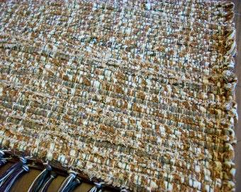 handmade loom woven brown and cream designer fabric  south dakota made