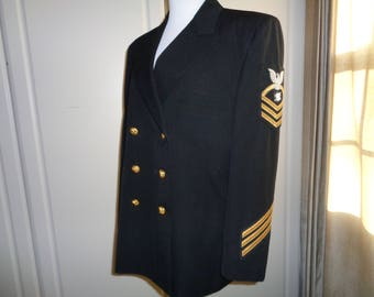 Vintage Naval Chief Officer Blazer, A Very  Well Made Double Breasted Uniform with great brass buttons and embroidered military insignia