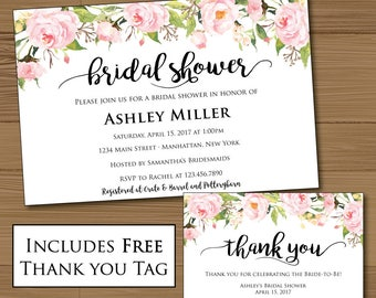Watercolor Flowers Floral Romantic Bridal Shower Invitation and FREE Thank you tag