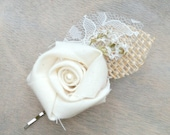 Cream Fabric Rosette Flower Hair Accessory, Wedding Hair Accessory, Bridal Hair Pin, Burlap & Lace, Dried Flowers, Accessories, Bobby Pin