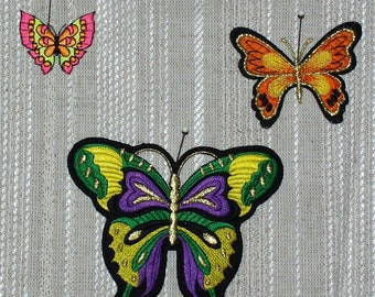 "Iron on Applique 1 Butterfly Green,Purple,Yellow and Black 4 "" x 4.5""  Super Cute   Ships Free Inside US"