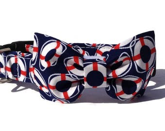 Nautical Navy Buoy Dog Bow Tie and Collar Set  for Small to Large Dogs