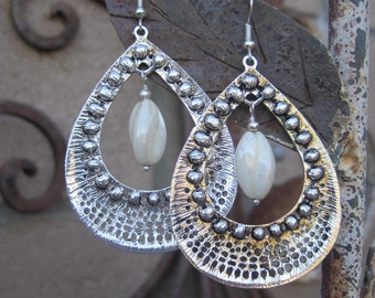 Large Gypsy Boho Statement Silver tone and White Twisted Picasso Beaded Earrings