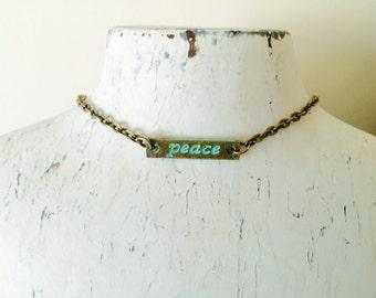 Peace Choker, boho necklace, minimalist, bohemian jewelry