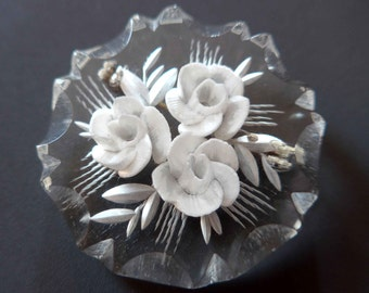 Beautiful French Vintage 1950's Lucite Brooch With Carved White Roses