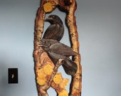 Nevermore two ravens hand carved and painted by Mary