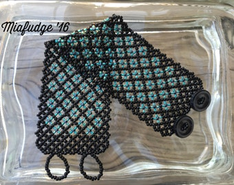 Seed Bead Bracelet Black with Teal Flowers
