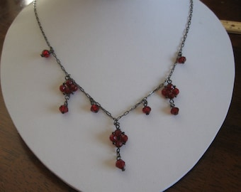 Vintage Necklace 24-Inch Red Stones, Dark Chain FREE SHIPPING