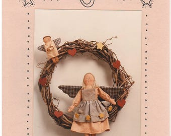 """1988 - Acorn Patterns Vintage Sewing Pattern Angelica 14"""" Angel Doll 5"""" Ornament Decoration Country Holiday Stuffed Clothes Uncut"""