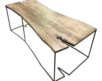 Coffee table ,modern,minimal,industrial look,geometric shape,live edge style,birch plywood ,metal base