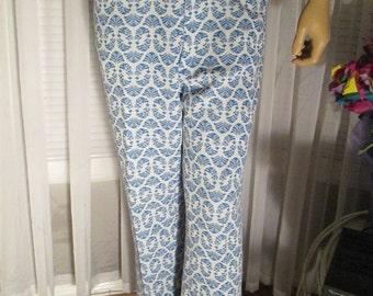 1970's Male Blue/White Poly Knit SLACKS by Di Fini Originals