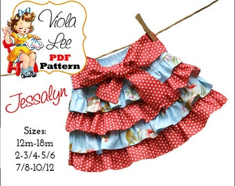 Jessalyn Girls Skirt Pattern. Ruffle Skirt Pattern pdf, Ruffled Skirt Pattern. pdf skirt pattern. Toddler Skirt Sewing Pattern, Twirl Skirt