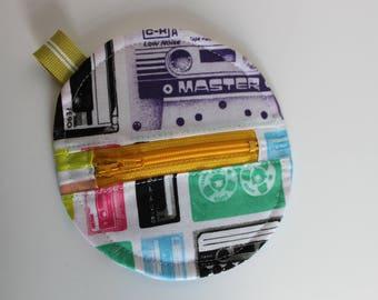iPhone Ear bud protector case, coin purse, tape cassette fabric, purse organizer, small zipper pouch, iPod storage accessory, ear phone case