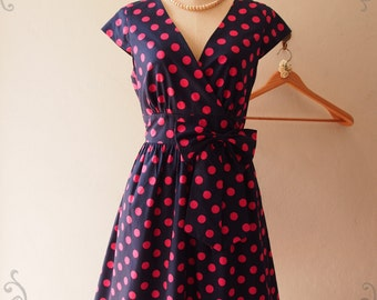 50% OFF Sale - Size S - Vintage Sundress Polka Dot Dress Summer Dress Retro Party dresses for Women Vintage Tea Party