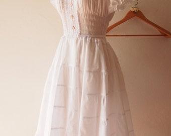 Juliet - White Long Dress Boho Bohemian Heirloom Style Birthday Homecoming Bridal Shower Dress Summer Beach Rustic Wedding Dress