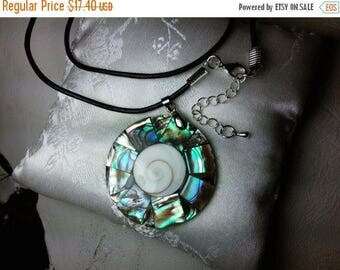 ON SALE at Etsy Abalone Shell Mosaic Necklace, 42mm Pendant with Swirl Cut Shell Center, 20inch Dark Blue Leather Cord, 2inch Extension Chai