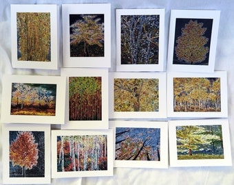Fall Etched Trees - Notecards
