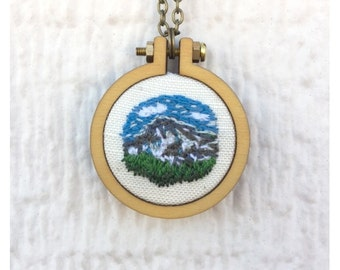 Mountain Necklace, Mountain Scenery Embroidery Pendant, 2 inch hoop, Mini Embroidered Painting, Ready to Ship