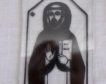 Religious Figure on Glass St. Dominic De Guzman Spiritual Christian scenes home decor art supplies  1960s glass art