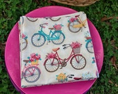 Dinner Napkins Bicycles Flower baskets reversible Set of 4