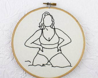 Pinup Girl Art Hand Embroidered Wall Decor Sexy Plus Size Lingerie Hoop Art Monochrome Design Retro Decor Pinup Embroidery