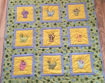 Embroidered Animal Baby Quilt