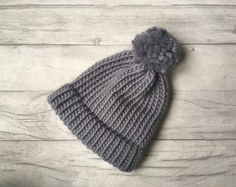 Grey knitted hat with pom pom, wool knit hat, winter hat, warm hat, hats for women, made in england, made in UK, winter accessories, ski hat