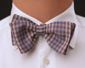 Classic / Wedding / Casual  Purple checked SELF TIE bow tie