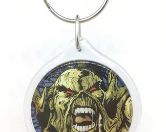 Upcycled Comic Book Keychain Featuring - Swamp Thing