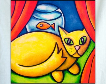 Cat and Fish Small Canvas Wall Art 6x6x1.5 in.