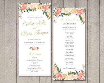 Peach Floral Watercolor Wedding Program (Printable) by Vintage Sweet