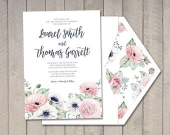 Summer Romance Wedding Invitation (Printable) DIY by Vintage Sweet