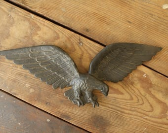 Vintage Cast Iron Eagle Wall Hanging Americana Garage Porch Gable Decor