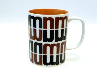 Neiman Marcus Coffee Cup 1960s 1970s Vintage NM Dallas Texas Department Store Logo Brown and White Mug FF Fitz and Floyd Made in Japan