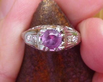 Beautiful Filgree  40 point Synthetic Alexandrite Color Change~~with side Diamond  engagment ring