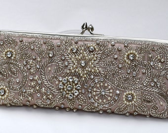Taupe, Jeweled, Crystal Bridal Clutch, Hand Beaded, Hand Embroidered,  Crystal Wedding Purse.