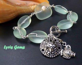 Sea Foam Sea Glass Bracelet Wire Wrapped Chunky Jewelry with charms, handmade by Lyrisgems