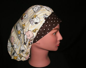 snoopy and charlie brown bouffant scrub hat