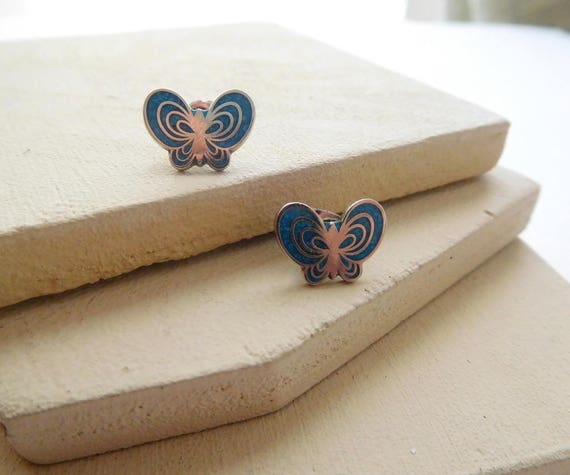 Retro Vintage Small Silver Turquoise Inlay Butterfly Stud Earrings F18