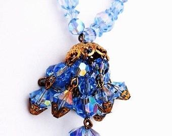 """Blue Crystal Beaded Pendant Necklace Tassle Dangling Stones Brass Filigree High End 27"""" Vintage"""