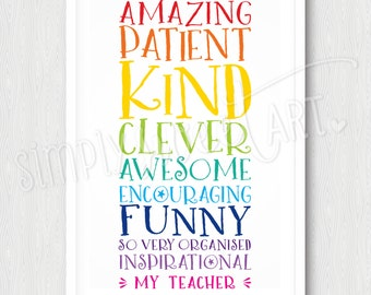 TEACHER PRINT - end of year thank you gift word stack rainbow colours