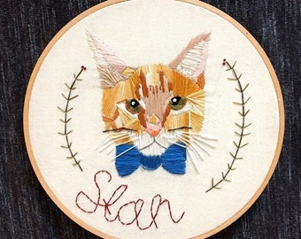 Custom Pet Portrait Embroidery Embroidered Dogs Cats Personalized Pet Portrait Needlepoint Pet Portrait Animals Customized