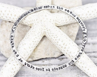 Cross the Ocean Bangle - Inspirational Bangle - Word Jewelry - Sterling Silver - B911