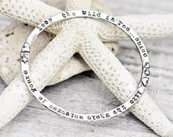 Keep the Wild Bangle - Inspirational Bangle - Word Jewelry - Sterling Silver - B901