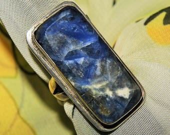 PAWN MEXICO RING Sodalite Sterling c1950