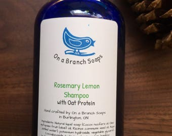 Rosemary Lemon Shampoo. natural hand crafted shampoo.  essential oils.  with oat ptotein.  On a Branch soaps.