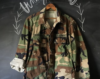 Vintage Camo Surplus Military Fatigues Jacket  Medium-Short