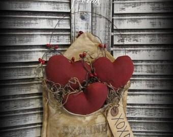 Primitive Valentine Love Letters ~ Be~Mine~ Folk Art Valentine Decor